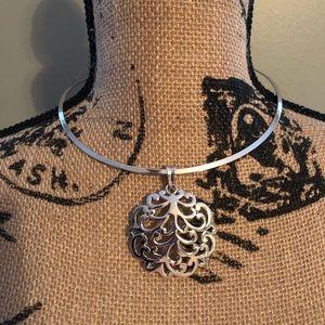 Lia Sophia Silver Cuff Necklace